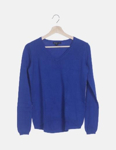 Jersey tricot asimétrico azul de pico