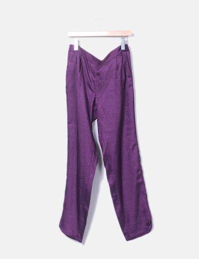 Pantalon violet en satin Mango