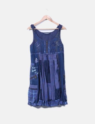 Vestido de tirantes azul marino combinado Desigual