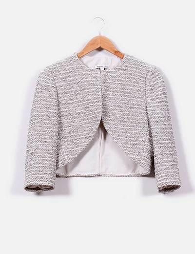 ef96dc0e7af9f Mango Chaqueta corta en tweed brillos plata (descuento 61%) - Micolet
