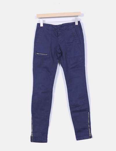 Pantalón azul marino cremalleras Zara