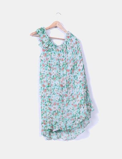 Vestido floreado asimetrico