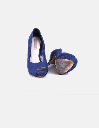 Zara Peep toe sapato de salto alto azul marinho (desconto de 75%) - Micolet 991a8a0679