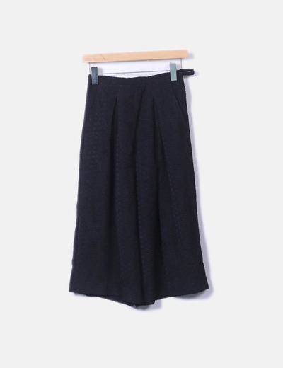 Pantalon noir palazzo texture H&M