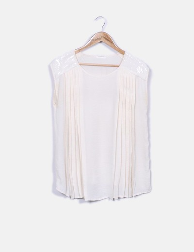 Camiseta beige fluida con pailettes Promod