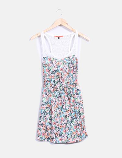 Vestido floral combinado  Bershka