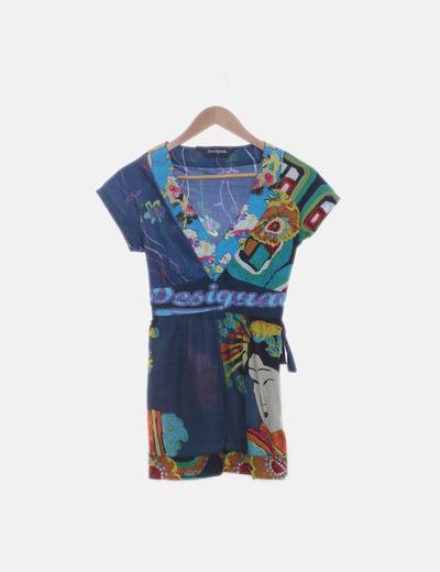 Blusa azul estampado oriental