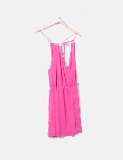 Vestido fluido rosa tirantes trenzados