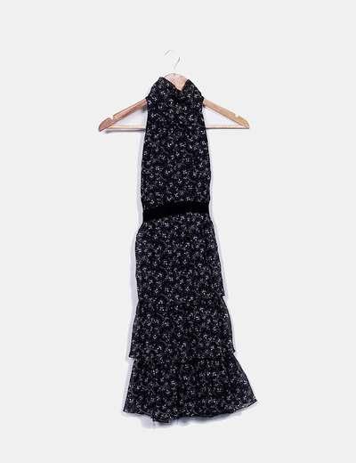 Vestido negro print floral de gasa Zara