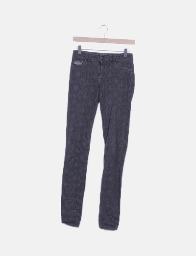 Jeans negro estampado
