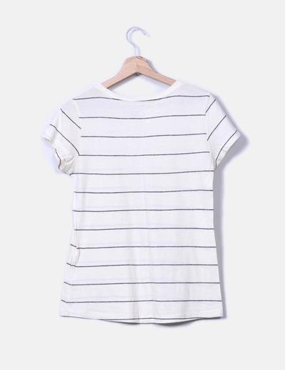 Camiseta crema de rayas