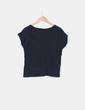 Camiseta negra print manga corta Zara