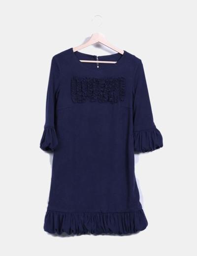 Vestido azul marino abullonado BDBA