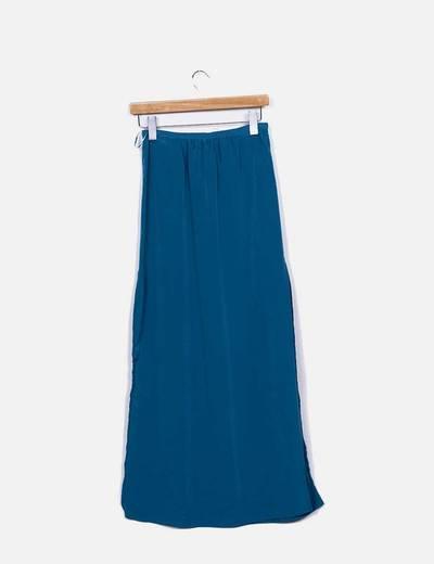 Falda maxi azul petroleo con aberturas