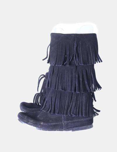 Botas de ante negro 3 layer con flecos Minnetonka