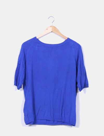Jersey azul cuello redondo Zara