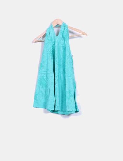 Vestido verde estampado de atar al cuello Pull&Bear