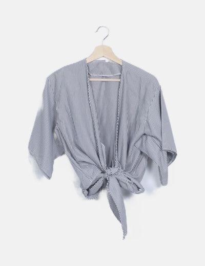 Camisa lazo rayas grises