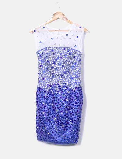 Vestido joya azul escote espalda
