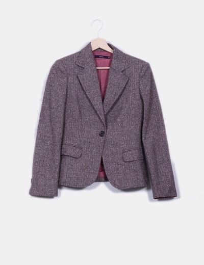 Blazer tweed marrón Cortefiel