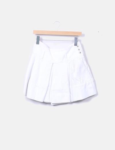 c9152f271 Falda denim blanca plisada