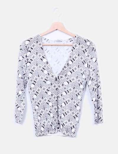 Cárdigan blanco y negro estampado H&M