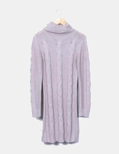 Robe grise en tricot à col roulé Women only