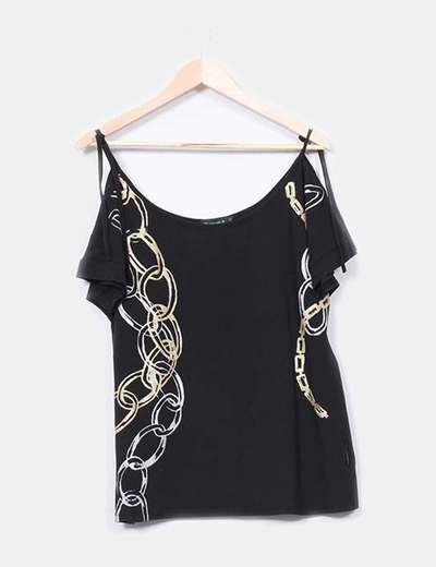 Top negro print cadenas glitter Kanak