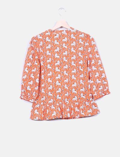 Blusa naranja print leones
