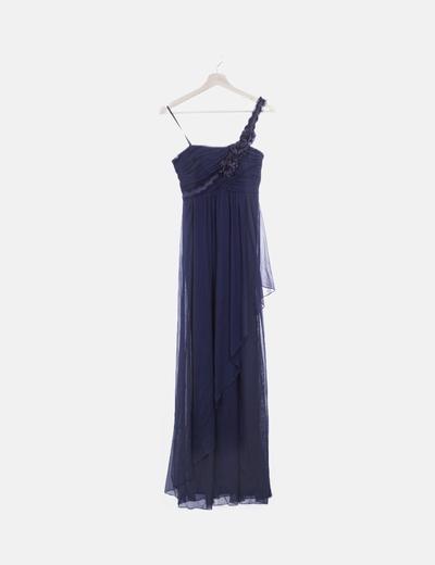 Vestido maxi azul marino de gasa detalle flor