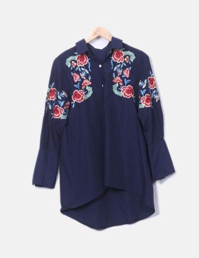 Chemise bleu marine à fleurs NoName