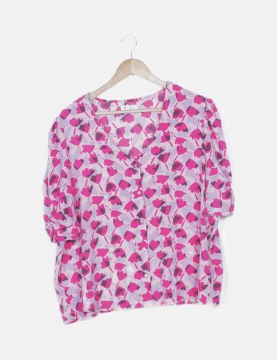 Blusa fluida rosa print floral