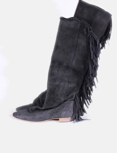 Botas negras de ante con flecos Zara