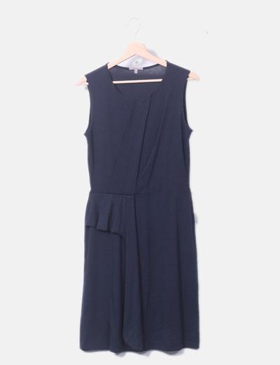Vestido azul detalle cruzado