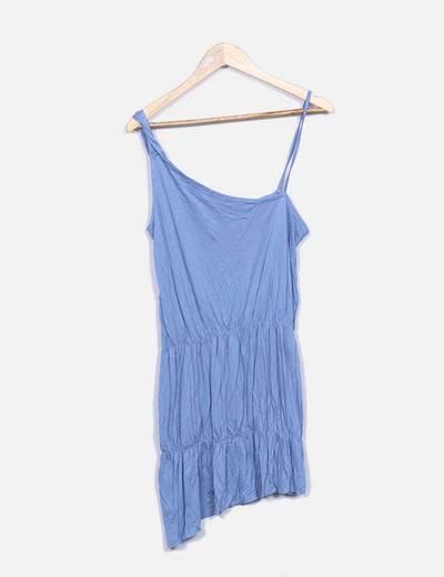 Vestido azul con tirante asimétrico Suiteblanco