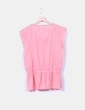 Top rosa manga corta  detalle escote bordado Springfield