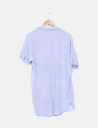 Vestido camisero manga corta estampado rallas