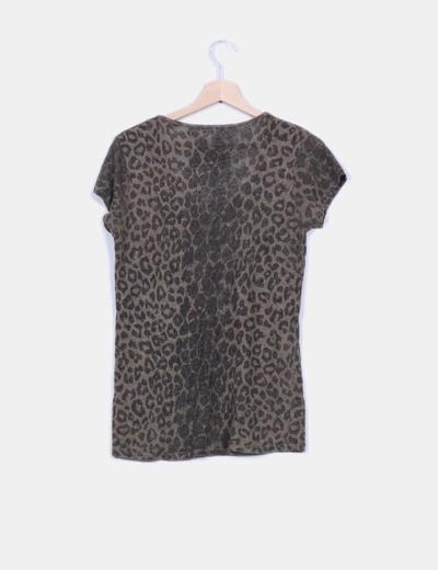 Top tricot khaki animal print