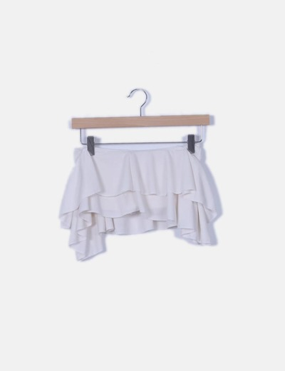 Crop top volantes blanco