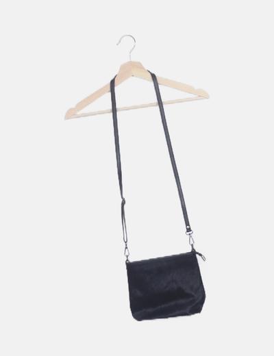 Bolso mini piel combinado negro