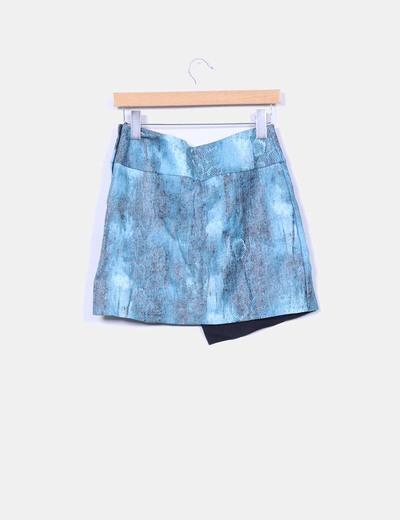 Mini falda asimetrica polipiel azul estampado