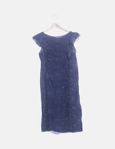 Vestido seda azul marino print moteado