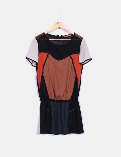 Vestido satén tricolor Bershka