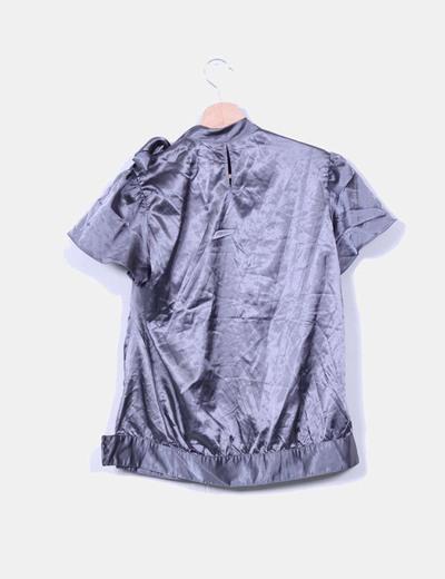 Blusa raso gris marengo