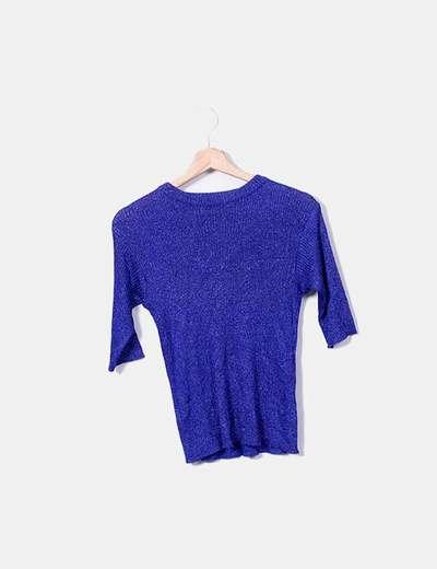 Suéter tricot azul glitter