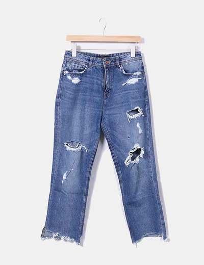 Pantalon denim déchiré Zara