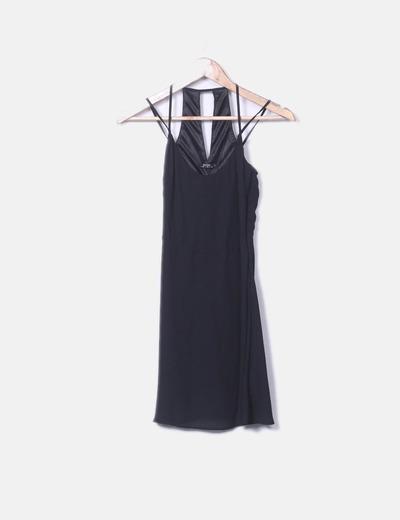 Vestido de gasa negro Bershka