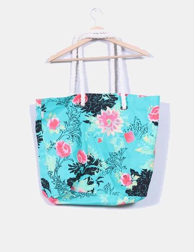 Maxi bolso lona verde estampado floral
