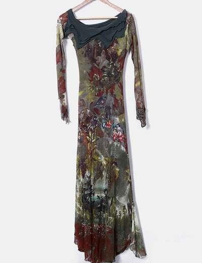 Save the Queen Maxi grünes Kleid mit gemustertem Blumendruck (Rabatt ... 28a1a38e54