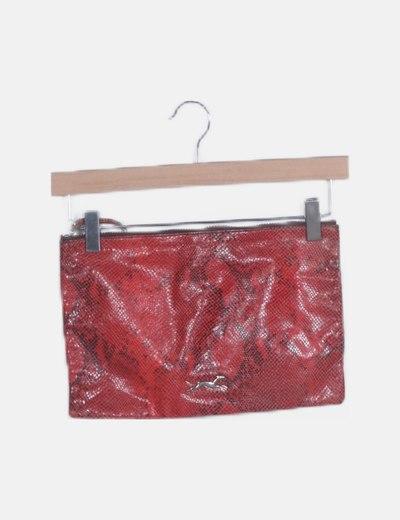Bolso de mano rojo animal print